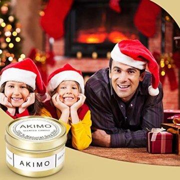 Weihnachtskerzen mit Grußkarte Geschenkbox - AKIMO Natural Soy Wax Vegane Kerzen, Geschenkset für Frauen, Thanksgiving, Jubiläum, Aromatherapie, Bad, Yoga - 4er Pack - 7