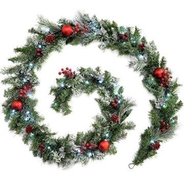 WeRChristmas Weihnachtsdekoration 9ft Frosted beleuchteter Weihnachtsgirlande beleuchtet mit 40cool weiß LED-Lichter - 1