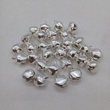 winomo Jingle Bells Tiny Glocken für Handwerk für Weihnachten Xams Weihnachtsbaumschmuck Schmuck 12mm 100Stück (Silber) - 2