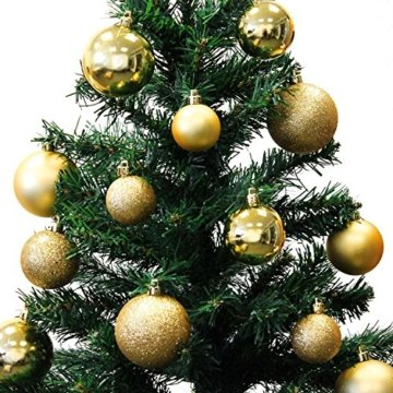 Wohaga® 70 Stück Weihnachtskugeln inkl. Transportbox Christbaumkugeln Baumschmuck Weihnachtsbaumschmuck Baumkugeln-Set, Farbe:Gold - 2