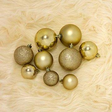 Wohaga® 70 Stück Weihnachtskugeln inkl. Transportbox Christbaumkugeln Baumschmuck Weihnachtsbaumschmuck Baumkugeln-Set, Farbe:Gold - 3