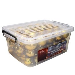 Wohaga® 70 Stück Weihnachtskugeln inkl. Transportbox Christbaumkugeln Baumschmuck Weihnachtsbaumschmuck Baumkugeln-Set, Farbe:Gold - 1