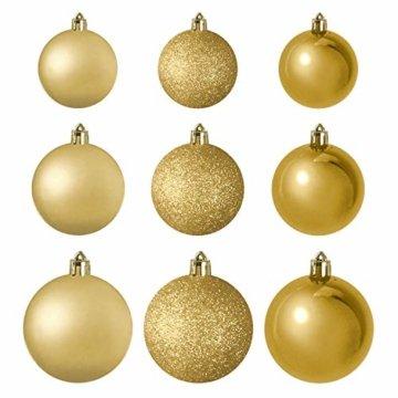 Wohaga® 70 Stück Weihnachtskugeln inkl. Transportbox Christbaumkugeln Baumschmuck Weihnachtsbaumschmuck Baumkugeln-Set, Farbe:Gold - 4