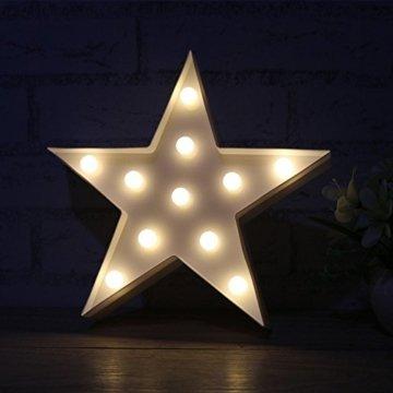 Wringo Dekorative Buchstaben Licht Stern Form LED Kunststoff Festzelt Licht Batteriebetrieben LED Festzelt Schild für Zuhause Weihnachten Dekoration - 3