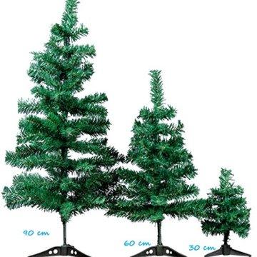 XONIC Künstlicher Weihnachtsbaum Tannenbaum 30,60,90,120, 150, 180,210 240cm Christbaum Baum GRÜN Weiss Schnee (90, GRÜN) - 2