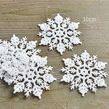 Xonor 36 Stück Kunststoff Weihnachten Glitzer Schneeflocke Ornamente Weihnachtsbaumschmuck weiß - 2