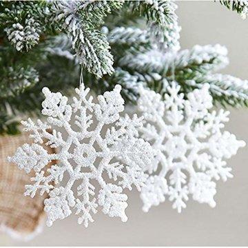 Xonor 36 Stück Kunststoff Weihnachten Glitzer Schneeflocke Ornamente Weihnachtsbaumschmuck weiß - 3