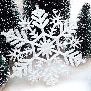 Xonor 36 Stück Kunststoff Weihnachten Glitzer Schneeflocke Ornamente Weihnachtsbaumschmuck weiß - 4