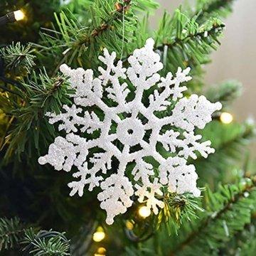 Xonor 36 Stück Kunststoff Weihnachten Glitzer Schneeflocke Ornamente Weihnachtsbaumschmuck weiß - 1