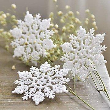 Xonor 36 Stück Kunststoff Weihnachten Glitzer Schneeflocke Ornamente Weihnachtsbaumschmuck weiß - 5