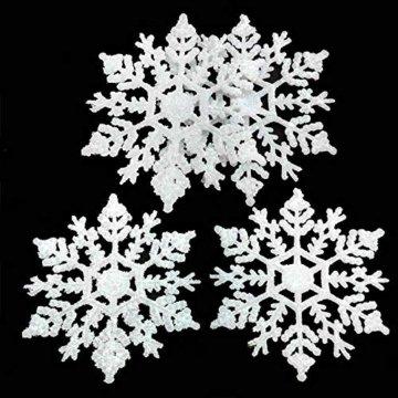 Xonor 36 Stück Kunststoff Weihnachten Glitzer Schneeflocke Ornamente Weihnachtsbaumschmuck weiß - 6