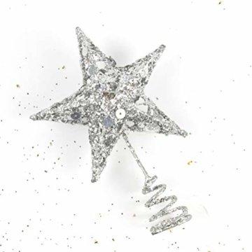 Yardwe 15cm Stern Baum Topper Glitter Treetop Weihnachtsbaum Zierde für Haus-Partei-Dekor (Silber) - 2