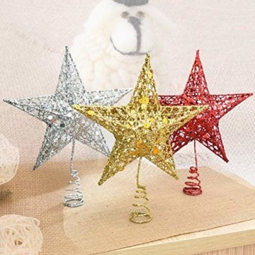 Yardwe 15cm Stern Baum Topper Glitter Treetop Weihnachtsbaum Zierde für Haus-Partei-Dekor (Silber) - 3