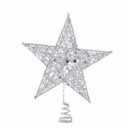 Yardwe 15cm Stern Baum Topper Glitter Treetop Weihnachtsbaum Zierde für Haus-Partei-Dekor (Silber) - 1