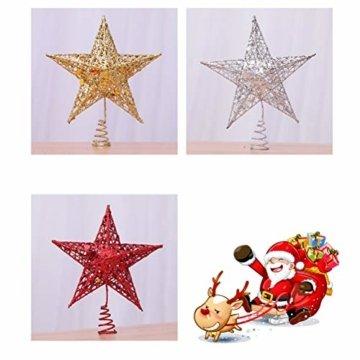 Yardwe 15cm Stern Baum Topper Glitter Treetop Weihnachtsbaum Zierde für Haus-Partei-Dekor (Silber) - 4