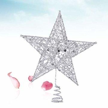 Yardwe 15cm Stern Baum Topper Glitter Treetop Weihnachtsbaum Zierde für Haus-Partei-Dekor (Silber) - 5