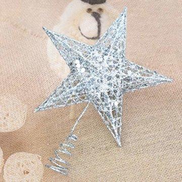 Yardwe 15cm Stern Baum Topper Glitter Treetop Weihnachtsbaum Zierde für Haus-Partei-Dekor (Silber) - 6