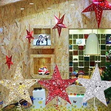 Yardwe 15cm Stern Baum Topper Glitter Treetop Weihnachtsbaum Zierde für Haus-Partei-Dekor (Silber) - 7