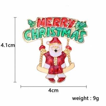 YeahiBaby 4pcs Weihnachten Emaille Brosche Schneemann Weihnachtsmann Weihnachtsglocken Kranz Anstecker Pin Weihnachtsschmuck - 2