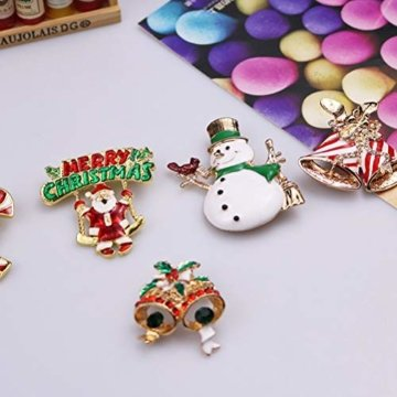 YeahiBaby 4pcs Weihnachten Emaille Brosche Schneemann Weihnachtsmann Weihnachtsglocken Kranz Anstecker Pin Weihnachtsschmuck - 3