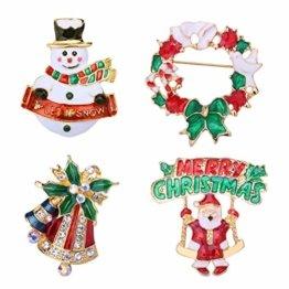 YeahiBaby 4pcs Weihnachten Emaille Brosche Schneemann Weihnachtsmann Weihnachtsglocken Kranz Anstecker Pin Weihnachtsschmuck - 1