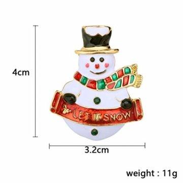 YeahiBaby 4pcs Weihnachten Emaille Brosche Schneemann Weihnachtsmann Weihnachtsglocken Kranz Anstecker Pin Weihnachtsschmuck - 6