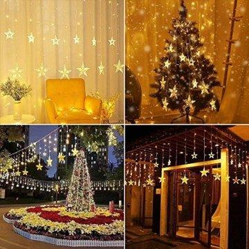 YINUO LIGHT LED Lichterkette mit 12 Sterne, 138 LEDs Lichterkettenvorhang, 8 Modi Dimmbar, Controller mit Speicherfunktion, IP44 Wasserfest für Weihnachtsdeko Innen und Außen Garten Party Hochzeit usw - 2