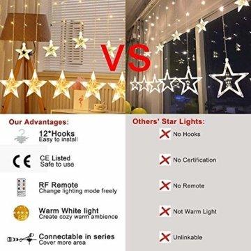 YINUO LIGHT LED Lichterkette mit 12 Sterne, 138 LEDs Lichterkettenvorhang, 8 Modi Dimmbar, Controller mit Speicherfunktion, IP44 Wasserfest für Weihnachtsdeko Innen und Außen Garten Party Hochzeit usw - 3