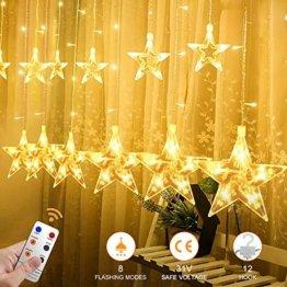 YINUO LIGHT LED Lichterkette mit 12 Sterne, 138 LEDs Lichterkettenvorhang, 8 Modi Dimmbar, Controller mit Speicherfunktion, IP44 Wasserfest für Weihnachtsdeko Innen und Außen Garten Party Hochzeit usw - 1