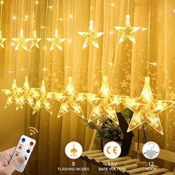 YINUO LIGHT LED Lichterkette mit 12 Sterne, 138 LEDs Lichterkettenvorhang, 8 Modi Dimmbar, Controller mit Speicherfunktion, IP44 Wasserfest für Weihnachtsdeko Innen und Außen Garten Party Hochzeit usw - 4
