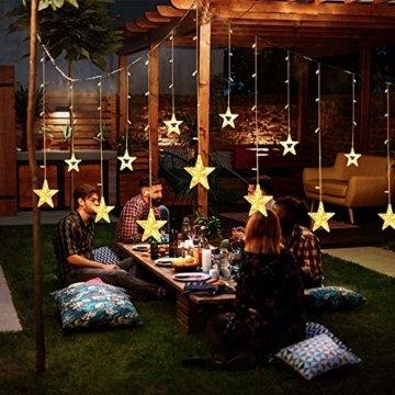 YINUO LIGHT LED Lichterkette mit 12 Sterne, 138 LEDs Lichterkettenvorhang, 8 Modi Dimmbar, Controller mit Speicherfunktion, IP44 Wasserfest für Weihnachtsdeko Innen und Außen Garten Party Hochzeit usw - 5