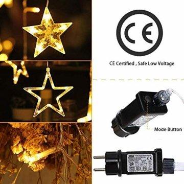 YINUO LIGHT LED Lichterkette mit 12 Sterne, 138 LEDs Lichterkettenvorhang, 8 Modi Dimmbar, Controller mit Speicherfunktion, IP44 Wasserfest für Weihnachtsdeko Innen und Außen Garten Party Hochzeit usw - 6