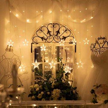 YINUO LIGHT LED Lichterkette mit 12 Sterne, 138 LEDs Lichterkettenvorhang, 8 Modi Dimmbar, Controller mit Speicherfunktion, IP44 Wasserfest für Weihnachtsdeko Innen und Außen Garten Party Hochzeit usw - 7