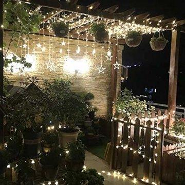 YINUO LIGHT LED Lichterkette mit 12 Sterne, 138 LEDs Lichterkettenvorhang, 8 Modi Dimmbar, Controller mit Speicherfunktion, IP44 Wasserfest für Weihnachtsdeko Innen und Außen Garten Party Hochzeit usw - 8
