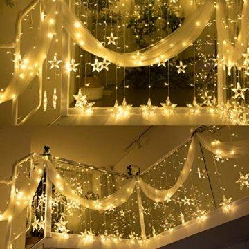 YINUO LIGHT LED Lichterkette mit 12 Sterne, 138 LEDs Lichterkettenvorhang, 8 Modi Dimmbar, Controller mit Speicherfunktion, IP44 Wasserfest für Weihnachtsdeko Innen und Außen Garten Party Hochzeit usw - 9