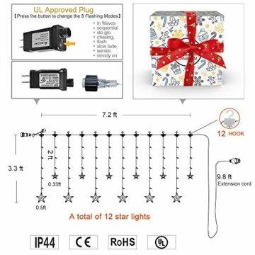 YINUO LIGHT LED Lichterkette mit 12 Sterne, 138 LEDs Lichterkettenvorhang, 8 Modi Dimmbar, Controller mit Speicherfunktion, IP44 Wasserfest für Weihnachtsdeko Innen und Außen Garten Party Hochzeit usw - 10