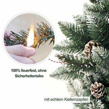 Yorbay Weihnachtsbaum Tannenbaum mit Ständer 120cm-240cm für Weihnachten-Dekoration Mehrweg (Weihnachtsbaum mit Schnee, 150cm) - 2