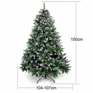 Yorbay Weihnachtsbaum Tannenbaum mit Ständer 120cm-240cm für Weihnachten-Dekoration Mehrweg (Weihnachtsbaum mit Schnee, 150cm) - 4