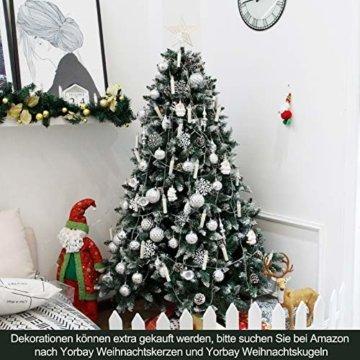 Yorbay Weihnachtsbaum Tannenbaum mit Ständer 120cm-240cm für Weihnachten-Dekoration Mehrweg (Weihnachtsbaum mit Schnee, 150cm) - 6