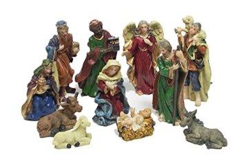 zeitzone Wunderschöne Krippenfiguren Set Handbemalt Weihnachten 11 teilig - 1