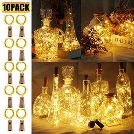 10 Stück LED Flaschenlicht, 20 LEDs 2M Lichterkette Kupferdraht batteriebetriebene Weinflasche Lichter mit Kork Schnurlicht für DIY Deko Weihnachten Party Urlaub Stimmungslichter (Warmweiß) - 1