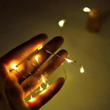 10 Stück LED Flaschenlicht, Sanniu 20 LEDs 2M Lichterkette Kupferdraht batteriebetriebene Weinflasche Lichter mit Kork Schnurlicht für DIY Deko Weihnachten Party Urlaub Stimmungslichter (Warmweiß) - 3
