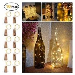 10 Stück LED Flaschenlicht, Sanniu 20 LEDs 2M Lichterkette Kupferdraht batteriebetriebene Weinflasche Lichter mit Kork Schnurlicht für DIY Deko Weihnachten Party Urlaub Stimmungslichter (Warmweiß) - 1