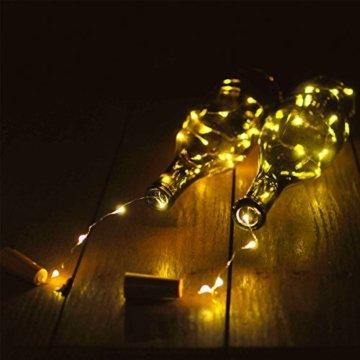 10 Stück LED Flaschenlicht, Sanniu 20 LEDs 2M Lichterkette Kupferdraht batteriebetriebene Weinflasche Lichter mit Kork Schnurlicht für DIY Deko Weihnachten Party Urlaub Stimmungslichter (Warmweiß) - 4