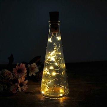 10 Stück LED Flaschenlicht, Sanniu 20 LEDs 2M Lichterkette Kupferdraht batteriebetriebene Weinflasche Lichter mit Kork Schnurlicht für DIY Deko Weihnachten Party Urlaub Stimmungslichter (Warmweiß) - 5