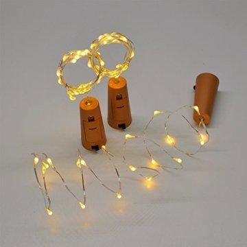 10 Stück LED Flaschenlicht, Sanniu 20 LEDs 2M Lichterkette Kupferdraht batteriebetriebene Weinflasche Lichter mit Kork Schnurlicht für DIY Deko Weihnachten Party Urlaub Stimmungslichter (Warmweiß) - 6