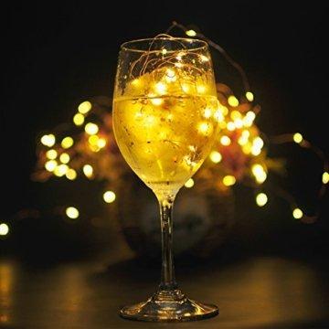 10 Stück LED Flaschenlicht, Sanniu 20 LEDs 2M Lichterkette Kupferdraht batteriebetriebene Weinflasche Lichter mit Kork Schnurlicht für DIY Deko Weihnachten Party Urlaub Stimmungslichter (Warmweiß) - 7