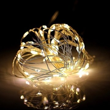 100/200/300er LED Mikro Silberdraht Lichterkette Strombetrieb Deko für Innen Außen Warmweiß gresonic (Warmweiß, 200LED) - 3