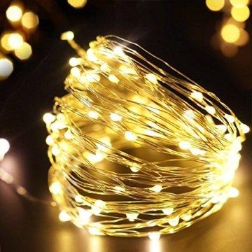 100/200/300er LED Mikro Silberdraht Lichterkette Strombetrieb Deko für Innen Außen Warmweiß gresonic (Warmweiß, 200LED) - 4