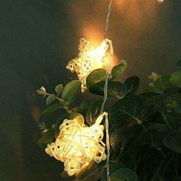 10er Rattan Pentagramm LED Lichterkette Innener, Dapei 1.1M Kupferdraht Lichterketten AA Batteriebetrieben Micro LED Stern Lichterkette Draht Weihnachtsdeko ideal für Zimmer Weihnachten Hochzeit Party - 8